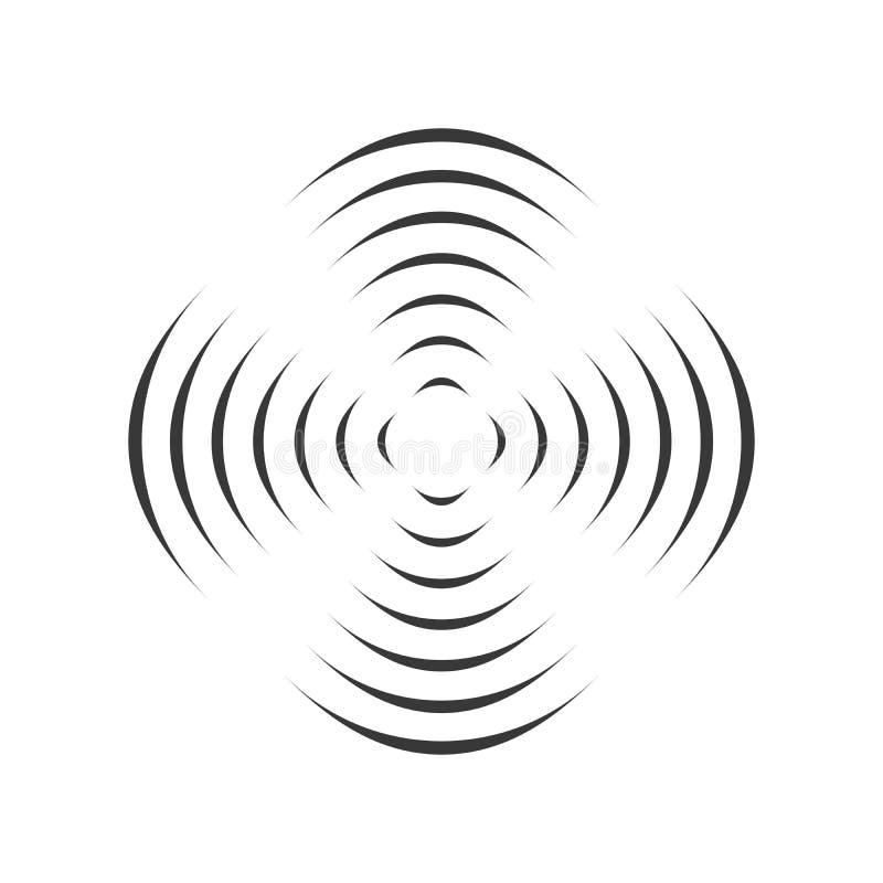 Teste padrão com o ornamento geométrico simétrico para a hélice de gerencio linhas pretas do círculo efeito da ilusão 3D ótica Ve ilustração royalty free