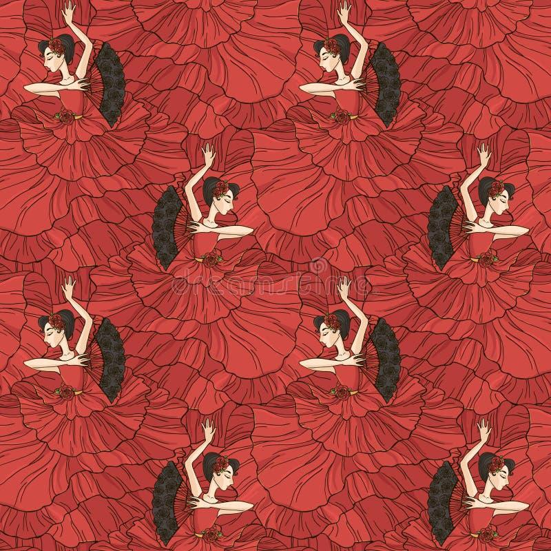Teste padrão com os dançarinos do tango e do flamenco ilustração do vetor
