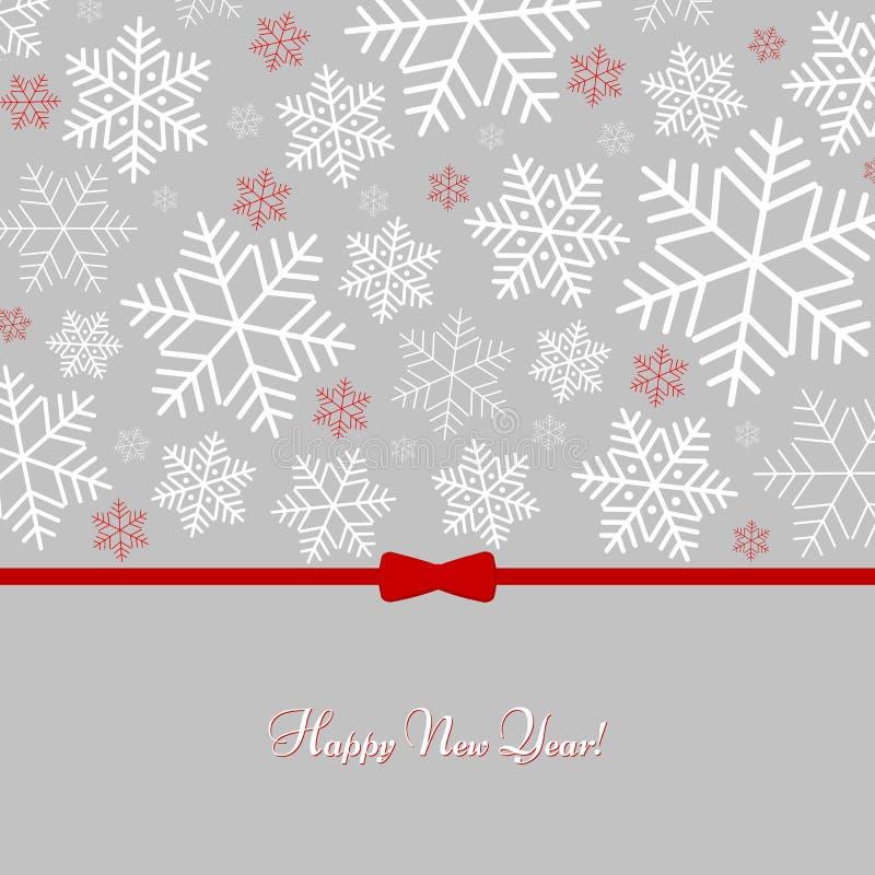 Teste padrão com os flocos de neve com fundo do inverno do ano novo feliz do texto para o ano novo e o Natal ilustração stock