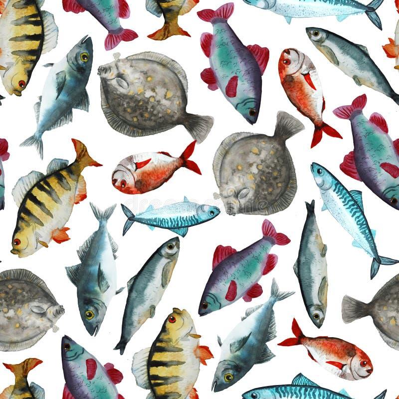 Teste padrão com peixes brilhantes ilustração royalty free