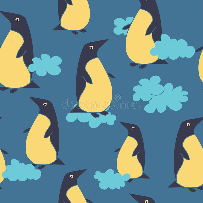 Teste padrão com pinguim e nuvens ilustração royalty free