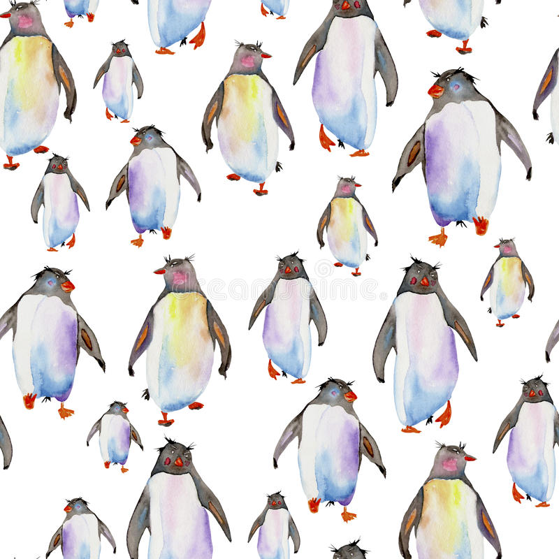 Teste padrão com pinguins da aquarela ilustração stock