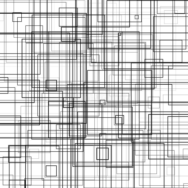 Teste padrão com quadrados aleatórios da espessura ilustração do vetor