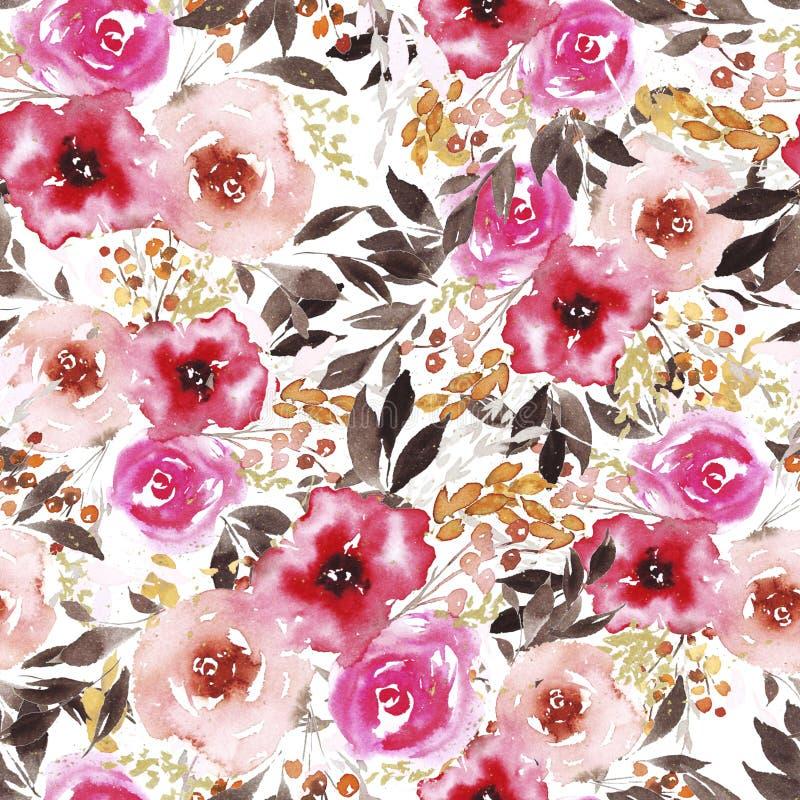 Teste padrão com rosa da aquarela do sumário e as flores vermelhas ilustração stock