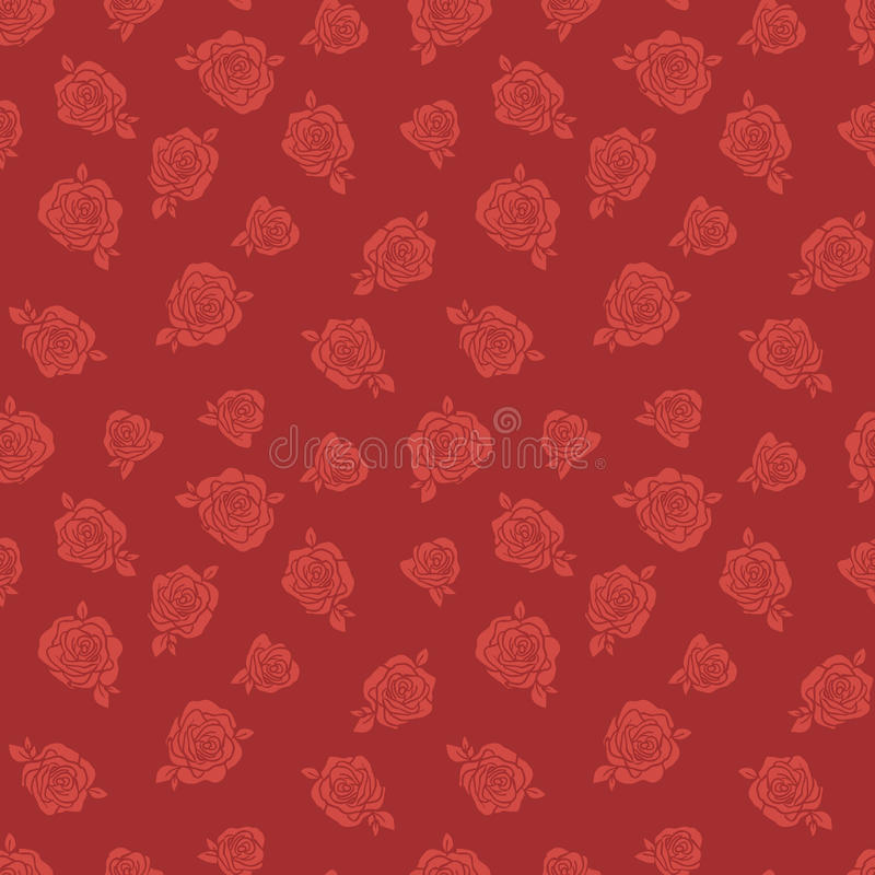 Teste padrão com rosas vermelhas ilustração stock