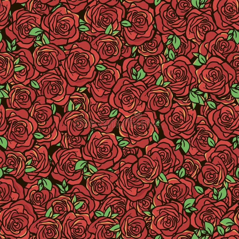 Teste padrão com rosas vermelhas ilustração do vetor