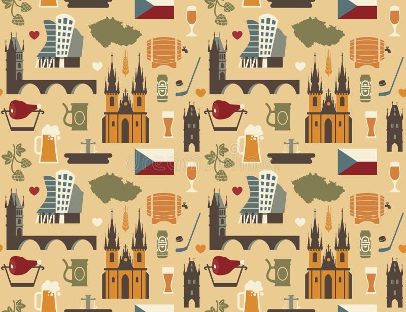 Teste padrão com símbolos de República Checa ilustração stock