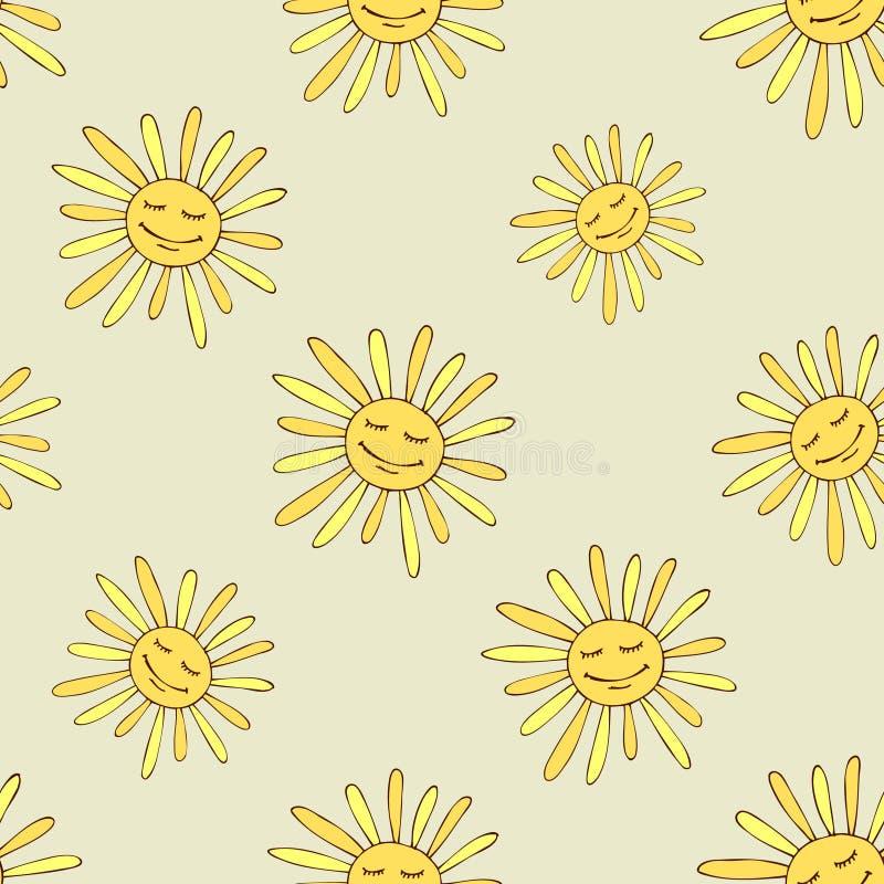 Teste padrão com sol feliz ilustração stock