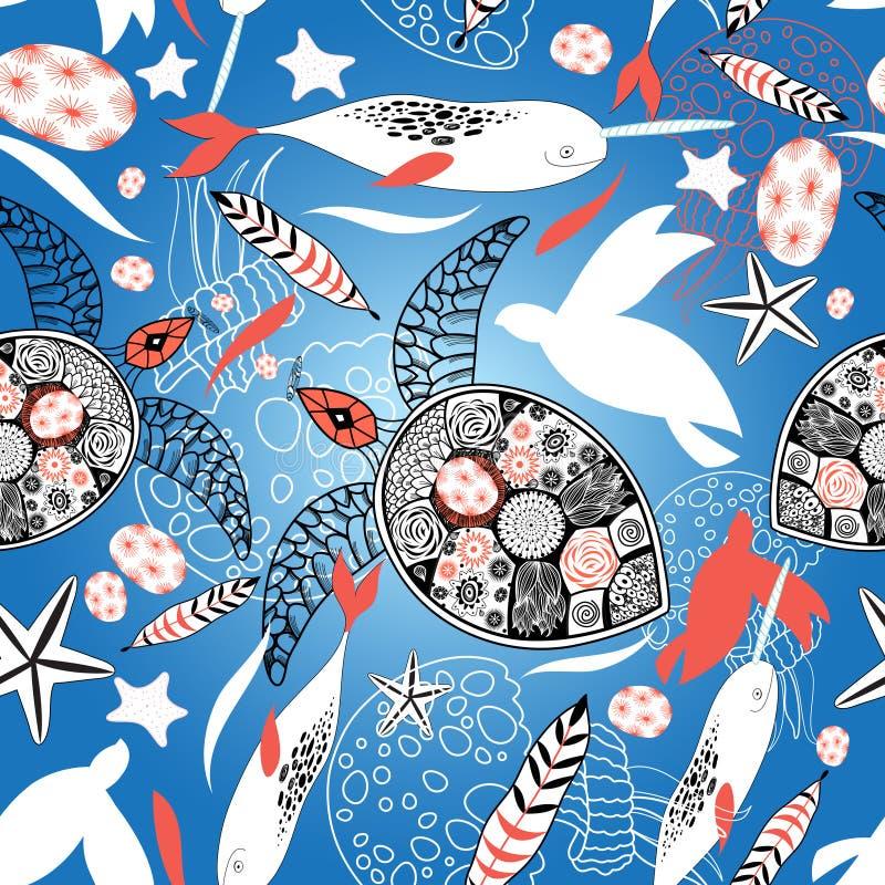 Teste padrão com tartarugas e baleias de mar ilustração royalty free