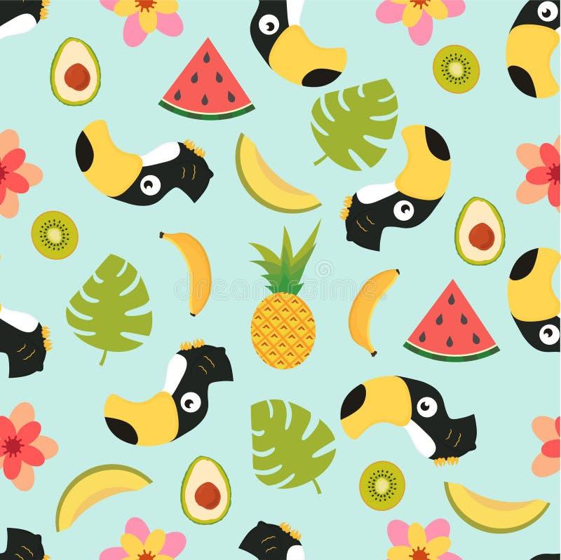Teste padrão com tucano e frutos tropicais ilustração do vetor