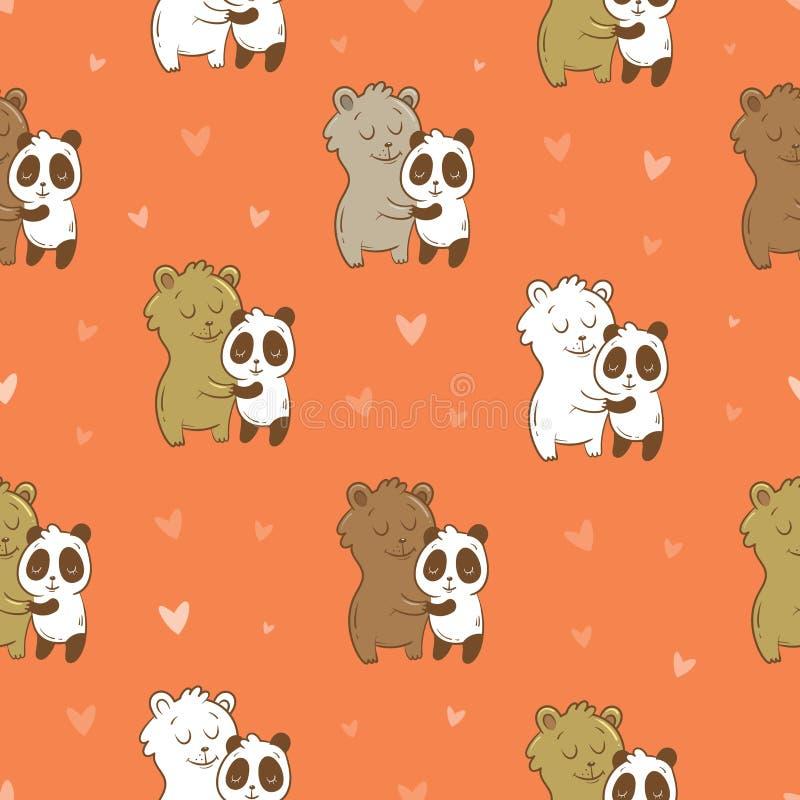 Teste padrão com ursos ilustração do vetor