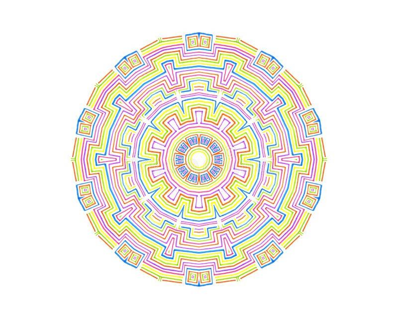 Teste padrão concêntrico colorido abstrato ilustração stock