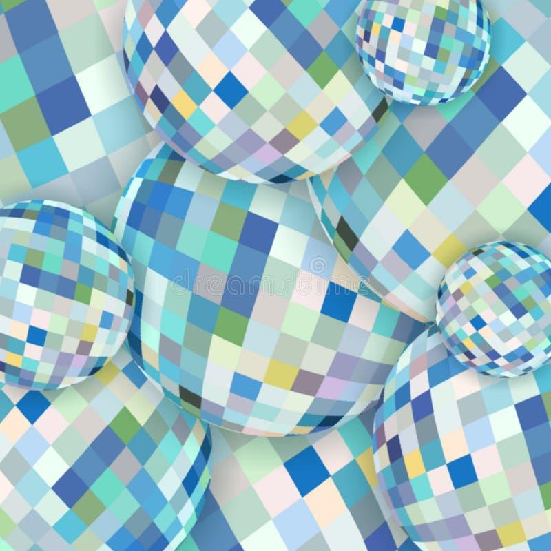 Teste padrão conceptual de vidro das esferas do sumário Fundo de cristal amarelo azul branco ilustração do vetor