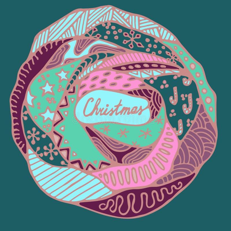 Teste padrão conservado em estoque do Natal com árvore, cápsula, flocos de neve Mão ilustração stock