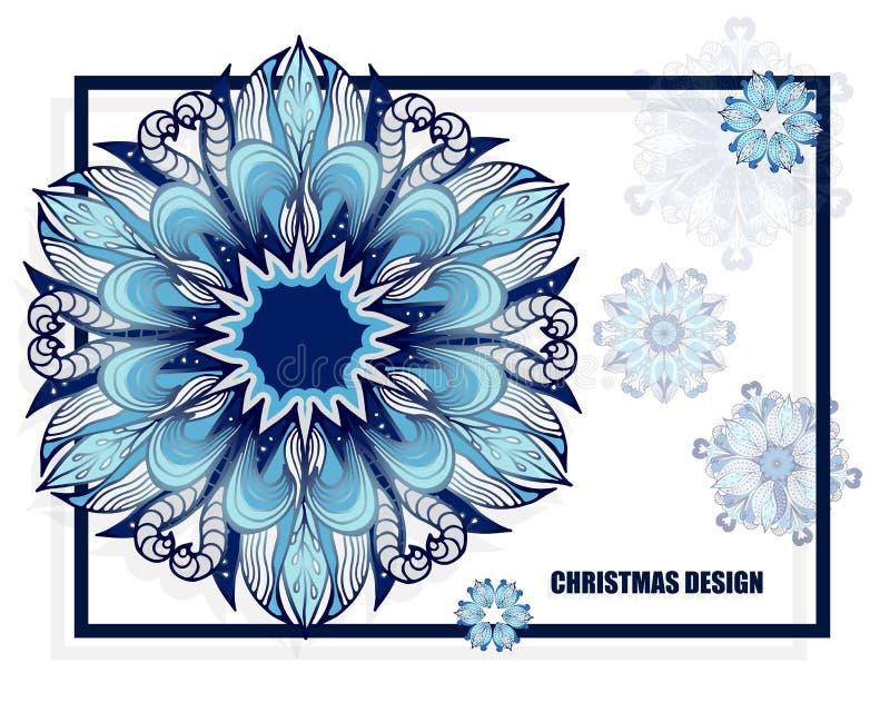 Teste padrão conservado em estoque do Natal com flocos de neve molde para o carro ilustração stock