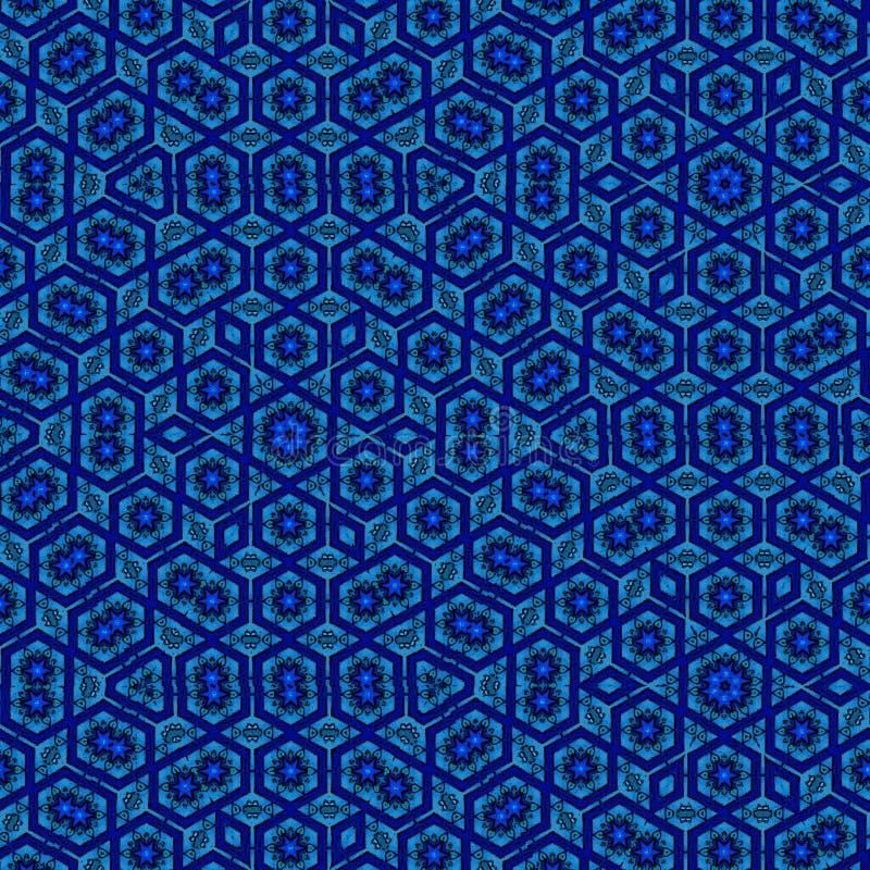 Teste padrão contínuo azul com elementos das flores e das estrelas ilustração royalty free