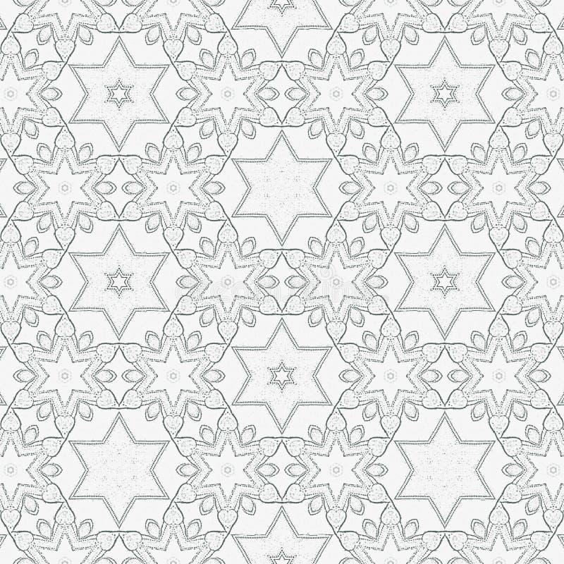 Teste padrão contínuo com corações e estrelas para o livro para colorir, cópia, papel de parede, matéria têxtil ilustração do vetor