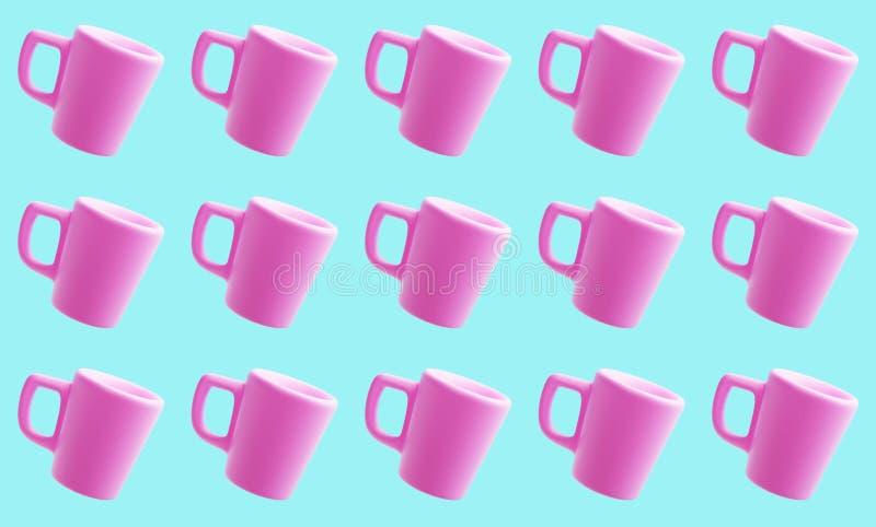 Teste padrão cor-de-rosa cerâmico das canecas, 3d rendição, copo de café imagens de stock royalty free
