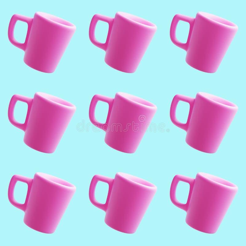 Teste padrão cor-de-rosa cerâmico das canecas, 3d rendição, copo de café foto de stock royalty free