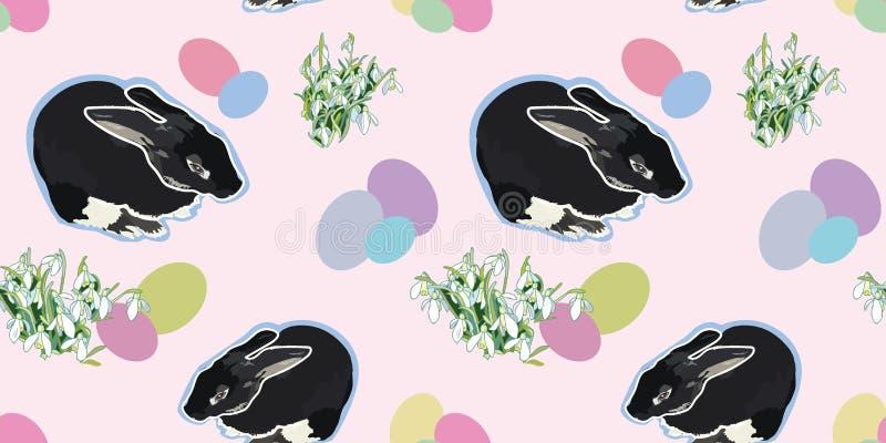Teste padrão cor-de-rosa com coelho e snowdrop ilustração do vetor
