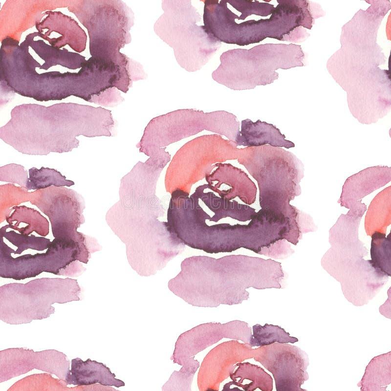 Teste padrão cor-de-rosa da violeta sem emenda da aquarela ilustração stock