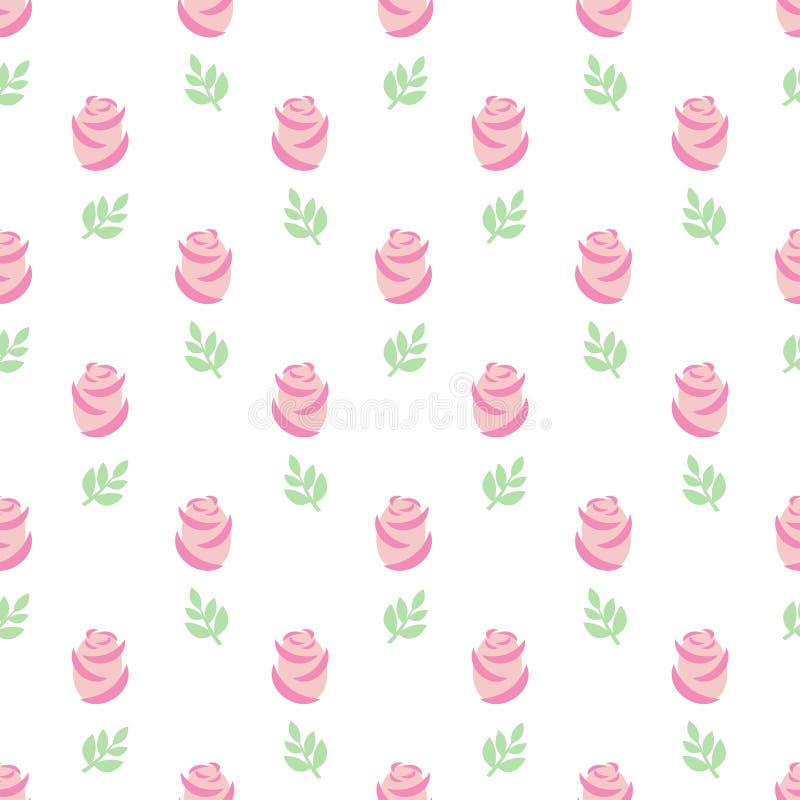 Teste padrão cor-de-rosa das rosas Rosas sem emenda do rosa do papel de parede com as folhas no fundo branco ilustração stock