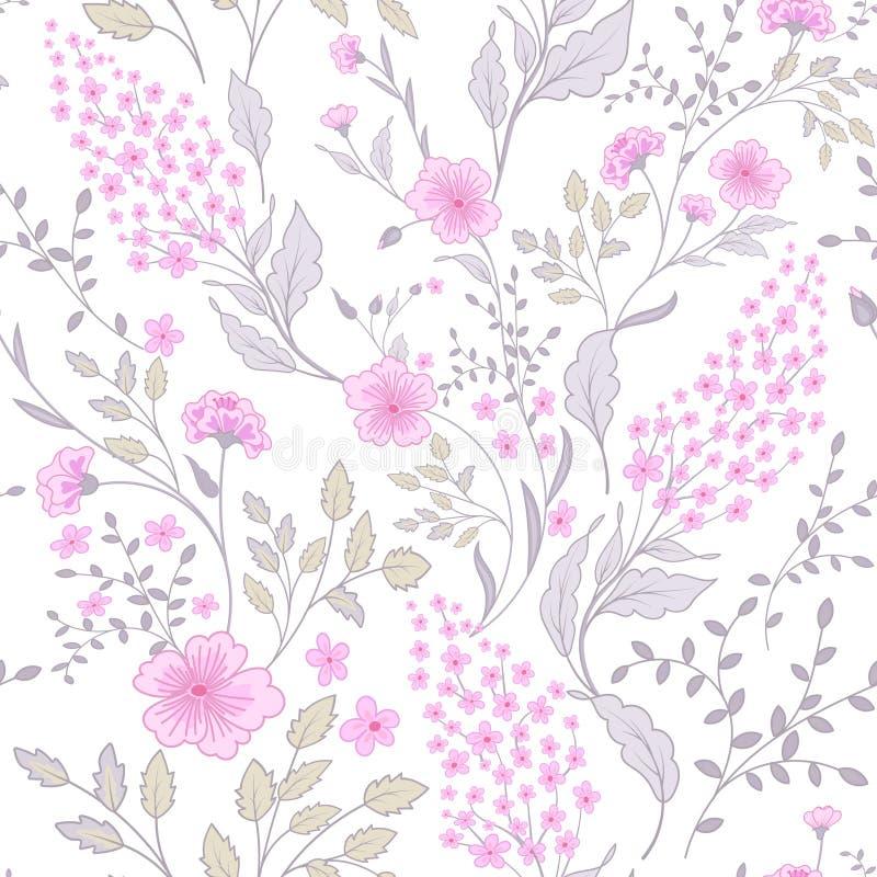 Teste padrão cor-de-rosa delicado das cores verdes da chita As flores pequenas bonitos sem emenda bonitos para a tela projetam Te ilustração royalty free