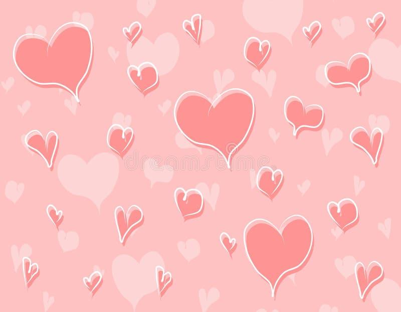 Teste padrão cor-de-rosa do fundo dos corações do Doodle ilustração stock