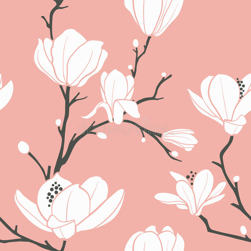 Teste padrão cor-de-rosa do magnolia ilustração royalty free