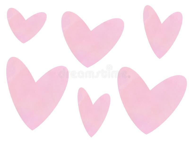 Teste padrão cor-de-rosa dos corações do Valentim no fundo branco, isolado Ilustração feliz do cartão do dia do ` s do Valentim C ilustração royalty free