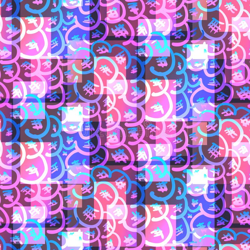 Teste padrão cor-de-rosa e azul brilhante psicadélico do brilho ilustração royalty free