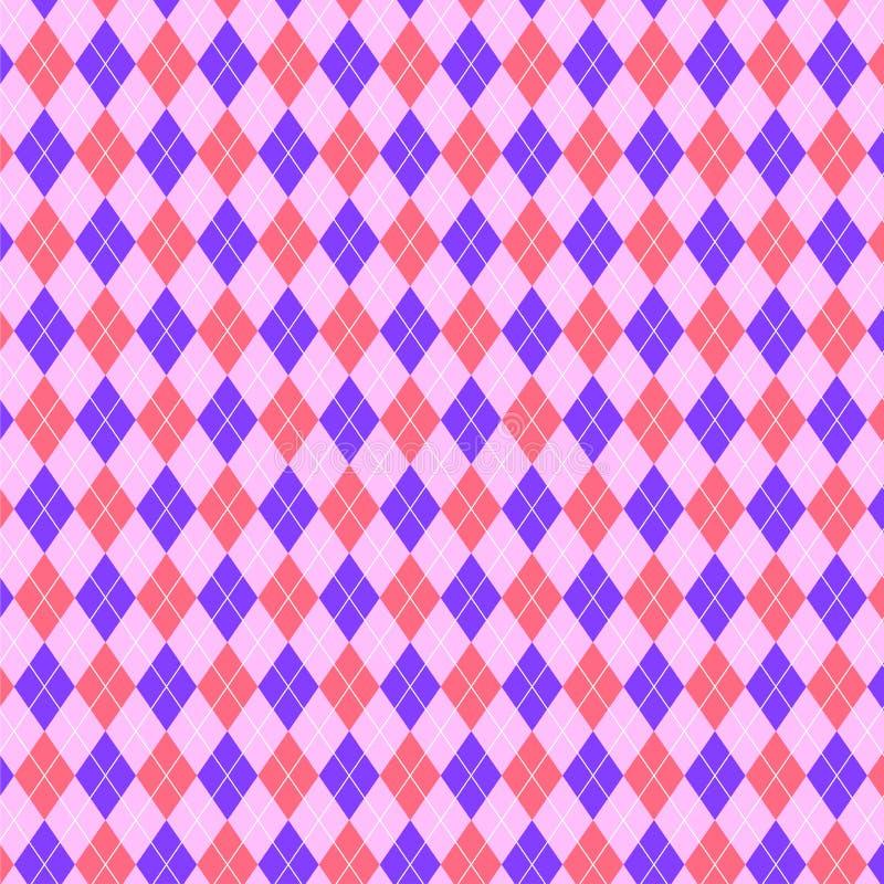 Teste padrão cor-de-rosa e roxo brilhante de triângulos dos diamantes Fundo geométrico ilustração stock