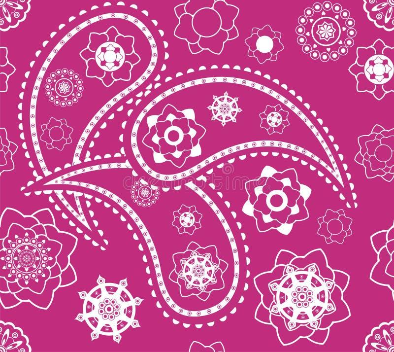 Teste padrão cor-de-rosa indiano sem emenda retro de paisley ilustração do vetor