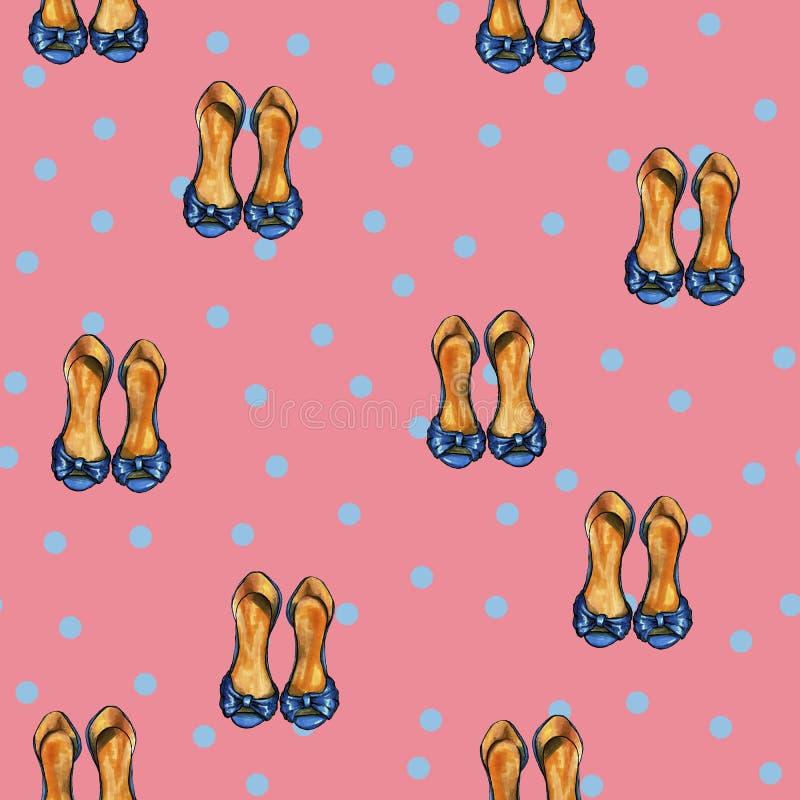 Teste padrão cor-de-rosa retro com pontos azuis e as sapatas azuis ilustração royalty free