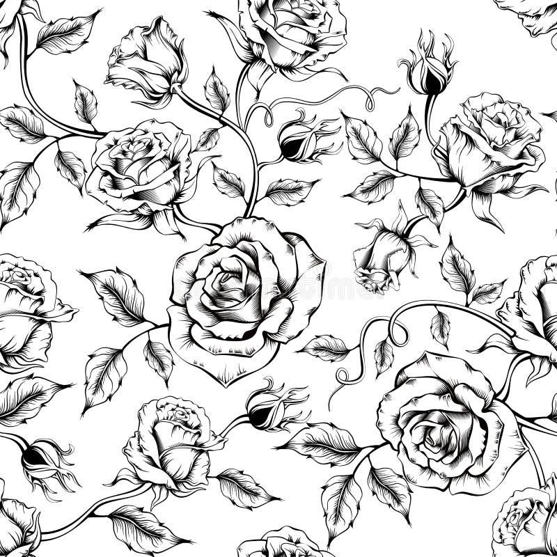Teste padr?o cor-de-rosa sem emenda com flores do esbo ilustração stock