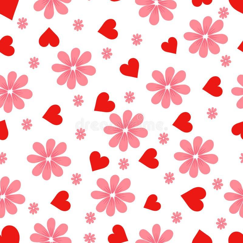 Teste padrão Corações e flores ilustração royalty free