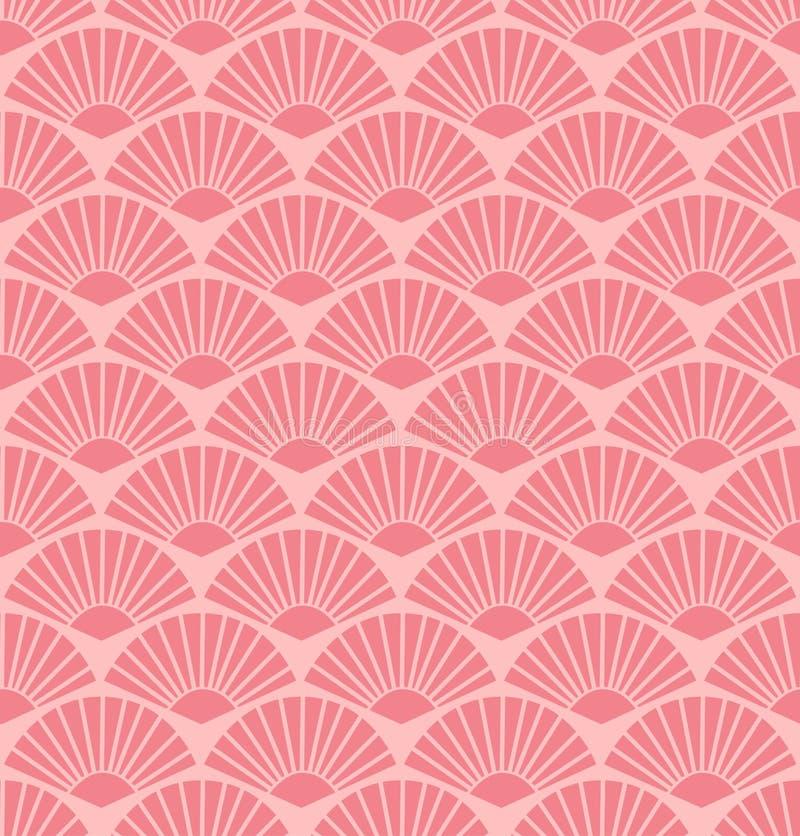 Teste padrão coral abstrato sem emenda do fã do vetor ilustração royalty free