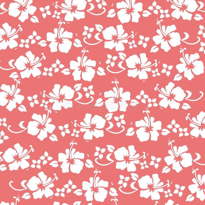 Teste padrão coral do hibiscus ilustração stock