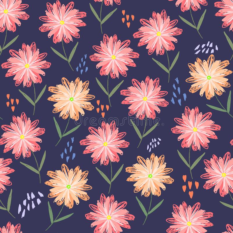 Teste padrão criançola com as flores alaranjadas e cor-de-rosa ilustração royalty free