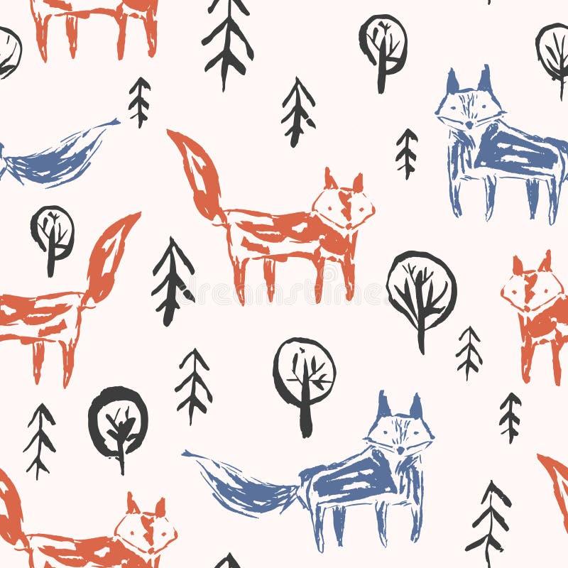 Teste padrão criançola com as raposas alaranjadas na floresta ilustração royalty free