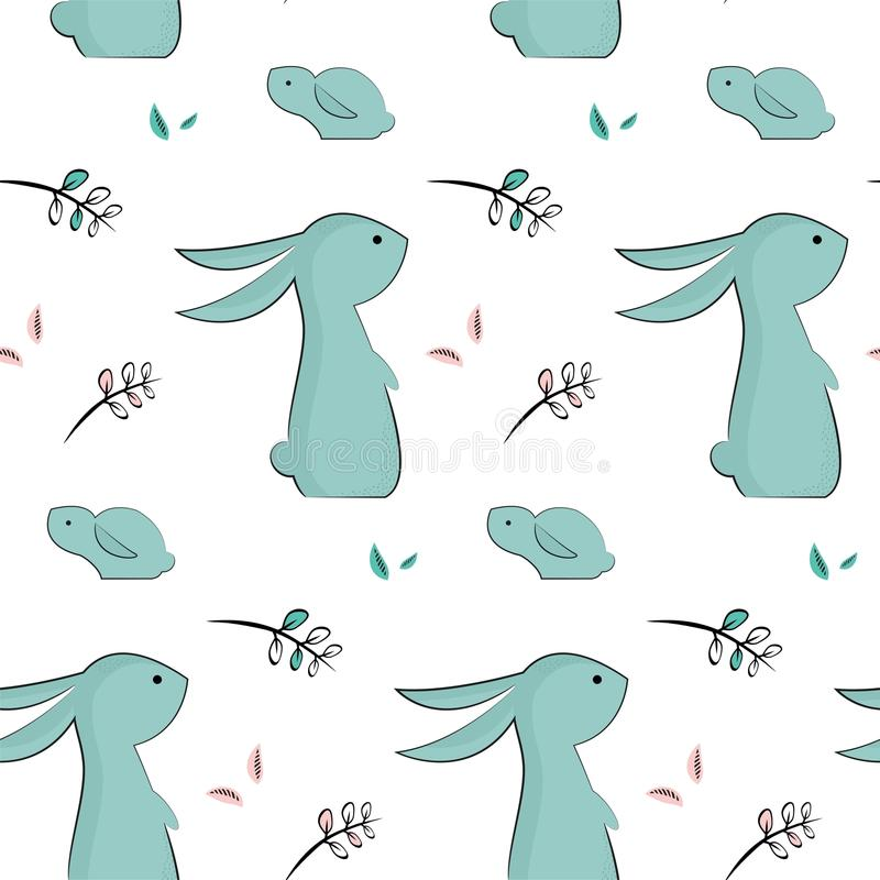 Teste padrão criançola com coelhos bonitos ilustração royalty free