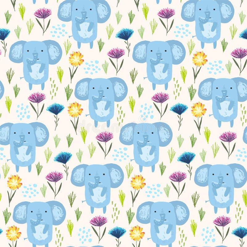 Teste padrão criançola com elefantes, grama e flores ilustração do vetor