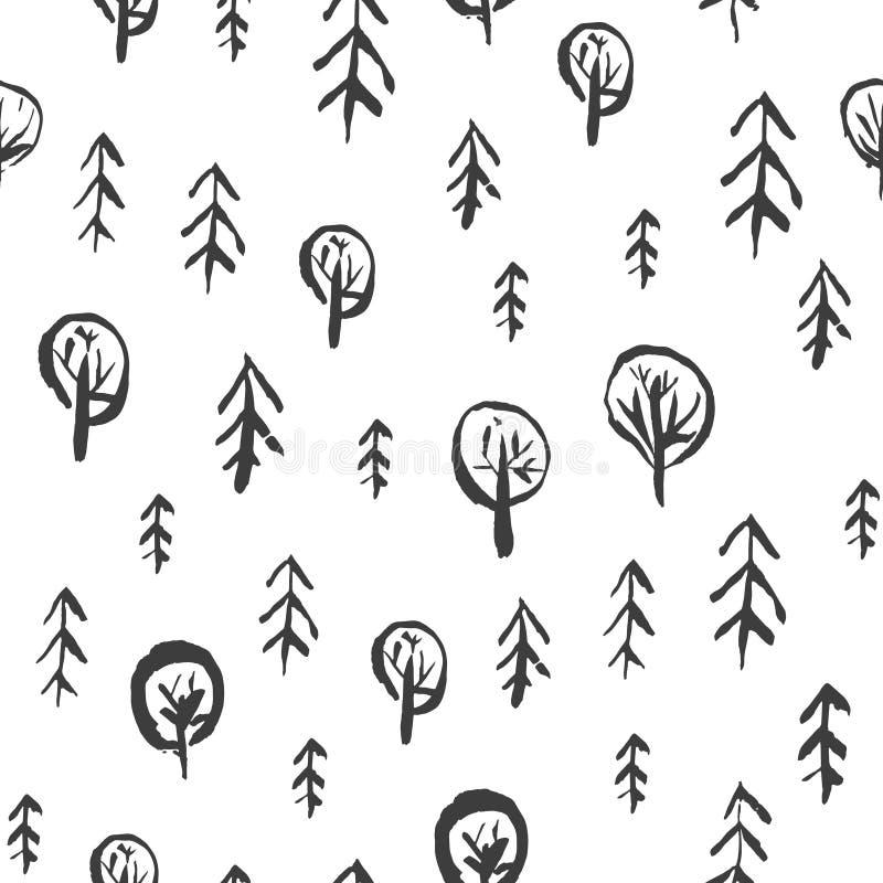 Teste padrão criançola com a floresta esboçado do abeto e do carvalho ilustração royalty free
