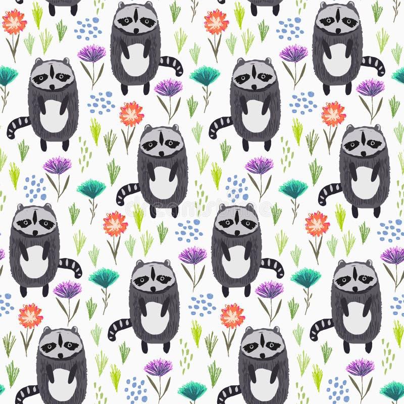 Teste padrão criançola com guaxinins, grama e flores ilustração do vetor