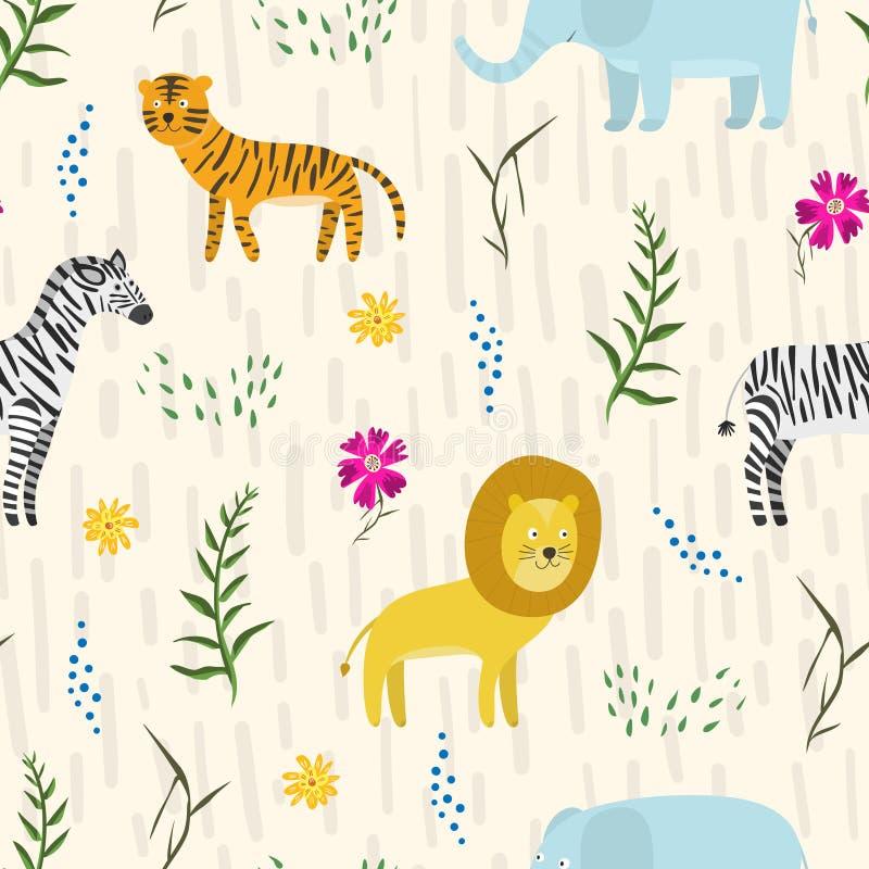Teste padrão criançola com os animais bonitos da selva dos desenhos animados ilustração royalty free