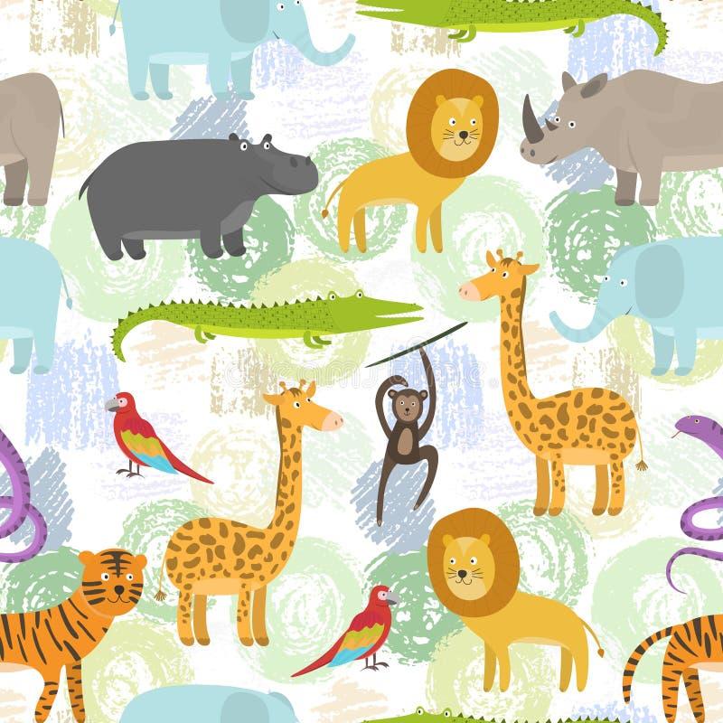 Teste padrão criançola com os animais da selva dos desenhos animados da cor ilustração royalty free