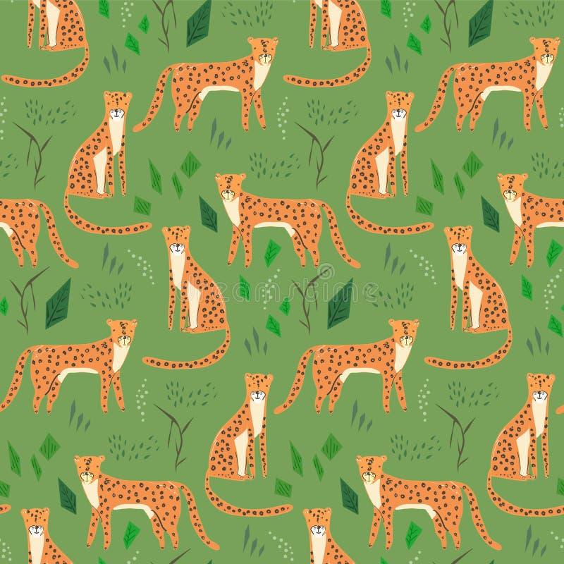 Teste padrão criançola dos desenhos animados com os jaguares tirados mão ilustração do vetor