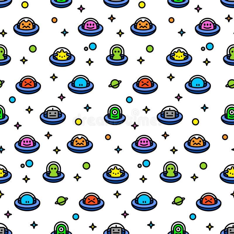 Teste padrão criançola dos seamles dos desenhos animados dos estrangeiros do UFO ilustração stock