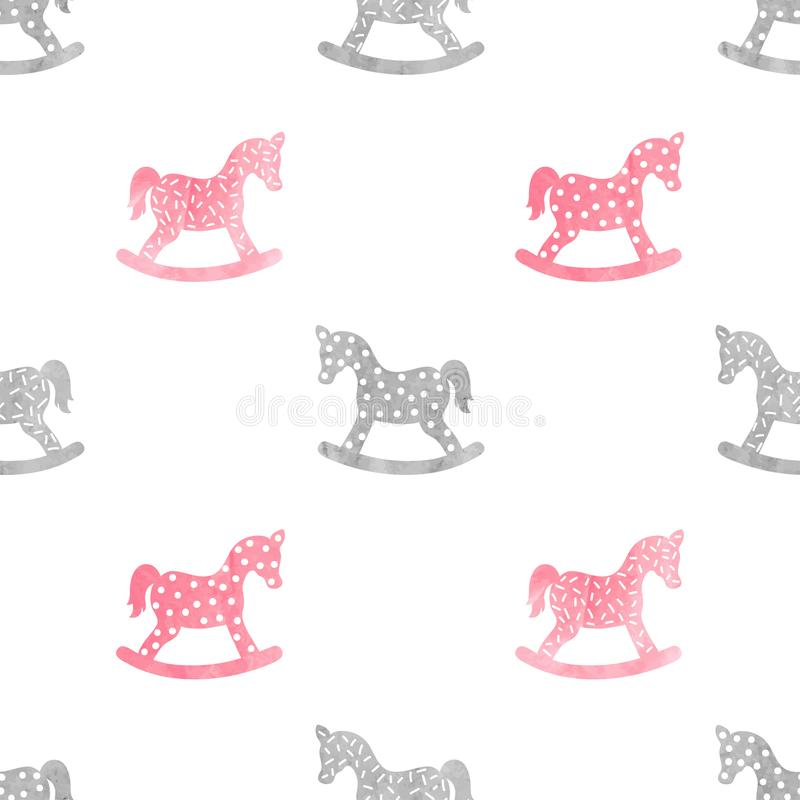 Teste padrão criançola sem emenda com o cavalo de balanço da aquarela ilustração royalty free