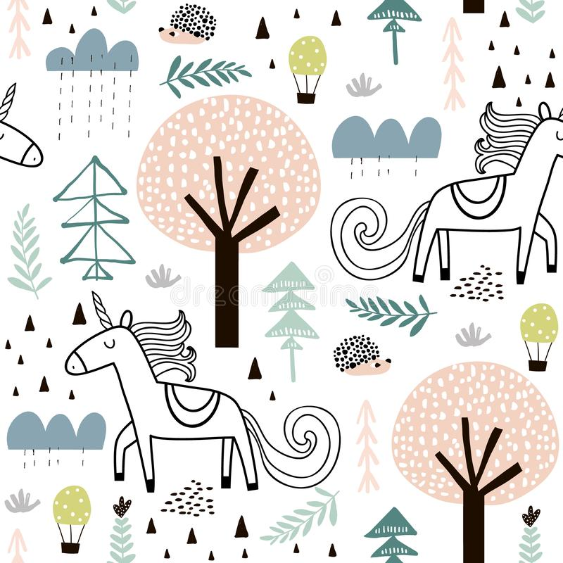 Teste padrão criançola sem emenda com unicórnio feericamente, ouriço na madeira Textura criativa para a tela, envolvendo, matéria ilustração stock